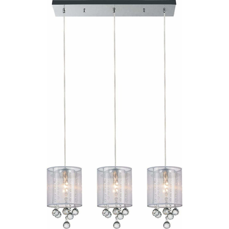 CWI Lighting Pendants Chrome / K9 Clear Radiant 3 Light Multi Light Pendant with Chrome finish by CWI Lighting 5062P24C-3 (Clear + W)