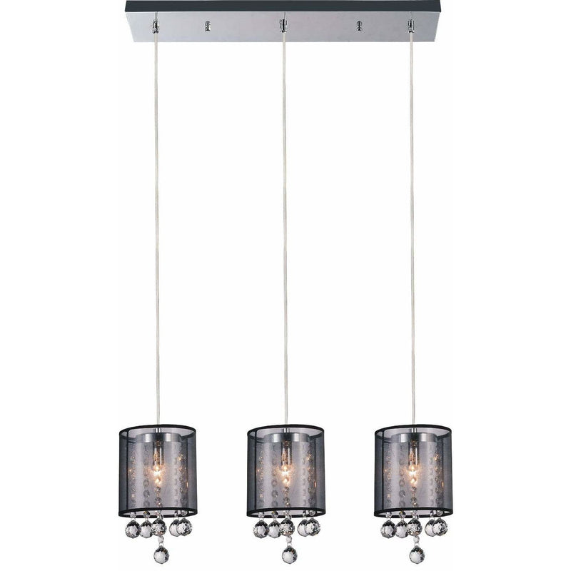 CWI Lighting Pendants Chrome / K9 Smoke Radiant 3 Light Multi Light Pendant with Chrome finish by CWI Lighting 5062P24C-3 (Smoke + B)