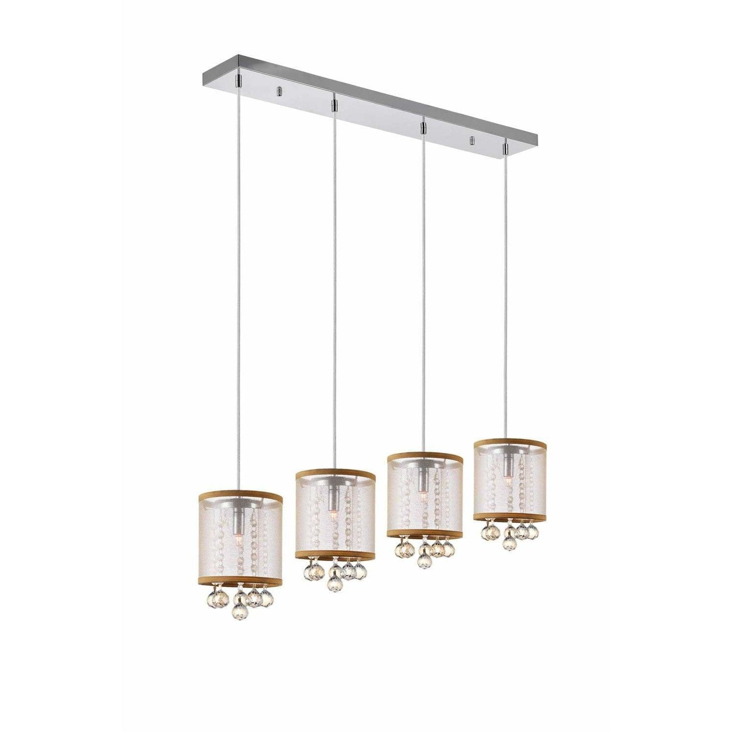 CWI Lighting Pendants Chrome / K9 Champagne Radiant 4 Light Multi Light Pendant with Chrome finish by CWI Lighting 5062P33C-4 (Chp + G)