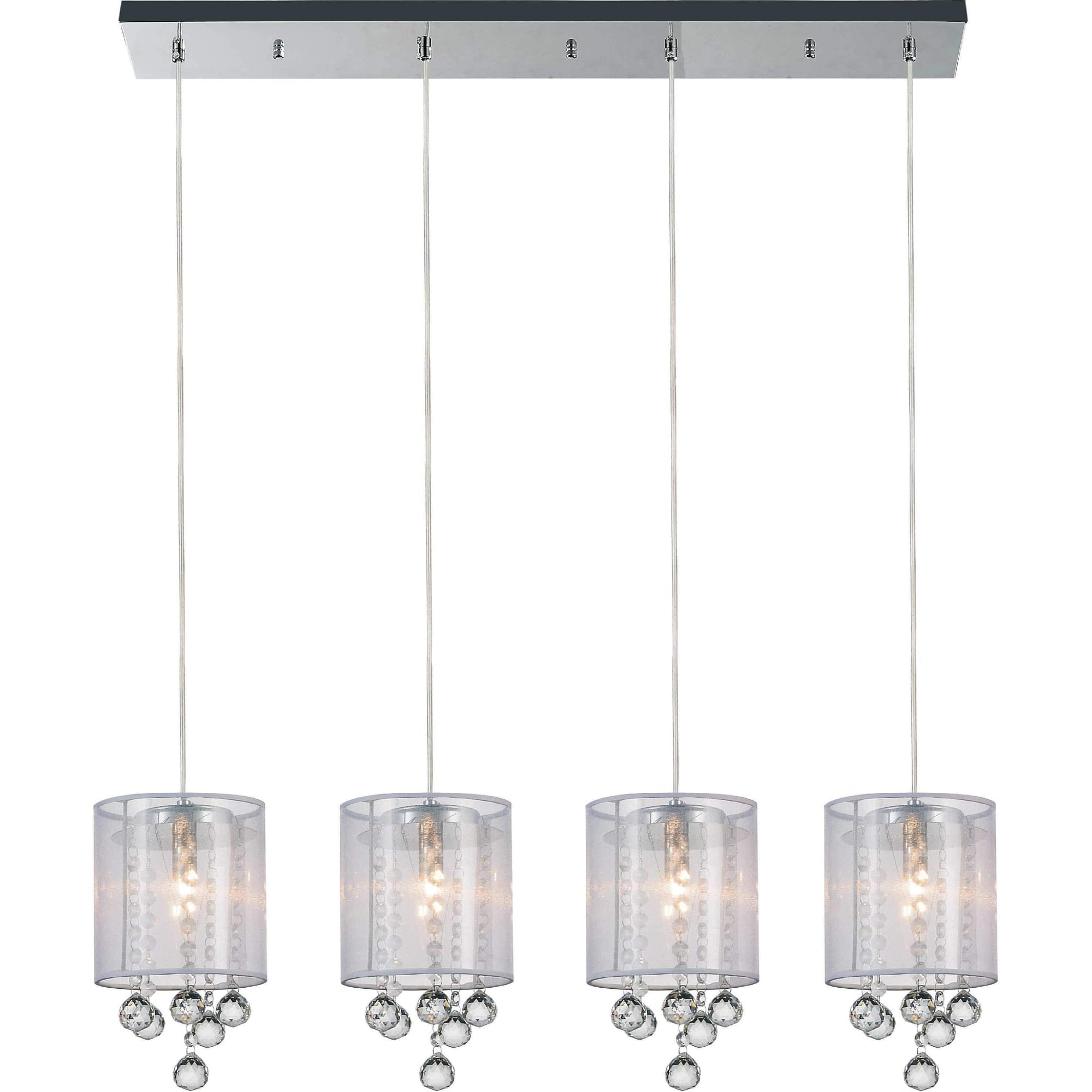 CWI Lighting Pendants Chrome / K9 Clear Radiant 4 Light Multi Light Pendant with Chrome finish by CWI Lighting 5062P33C-4 (Clear + W)
