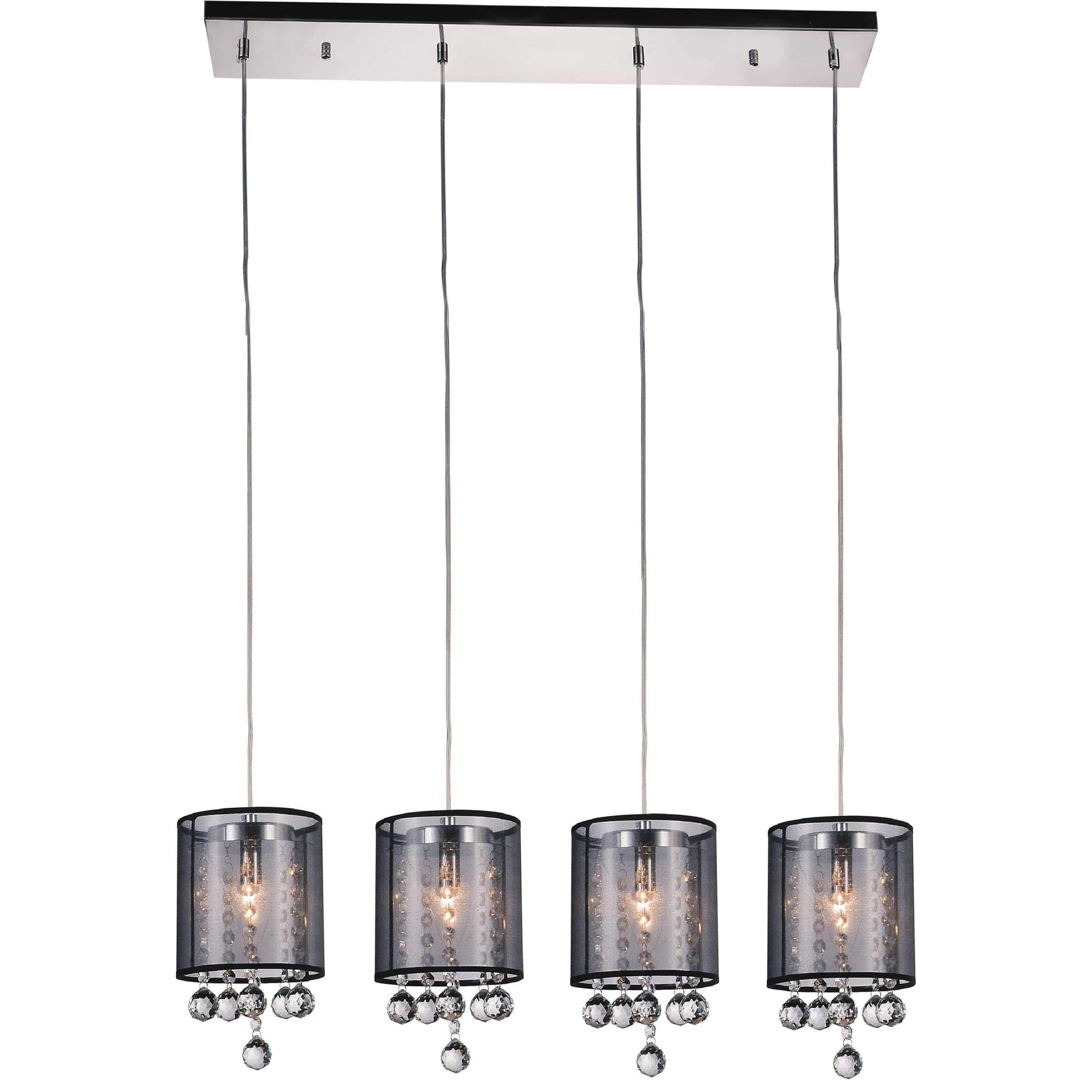 CWI Lighting Pendants Chrome / K9 Smoke Radiant 4 Light Multi Light Pendant with Chrome finish by CWI Lighting 5062P33C-4 (Smoke + B)