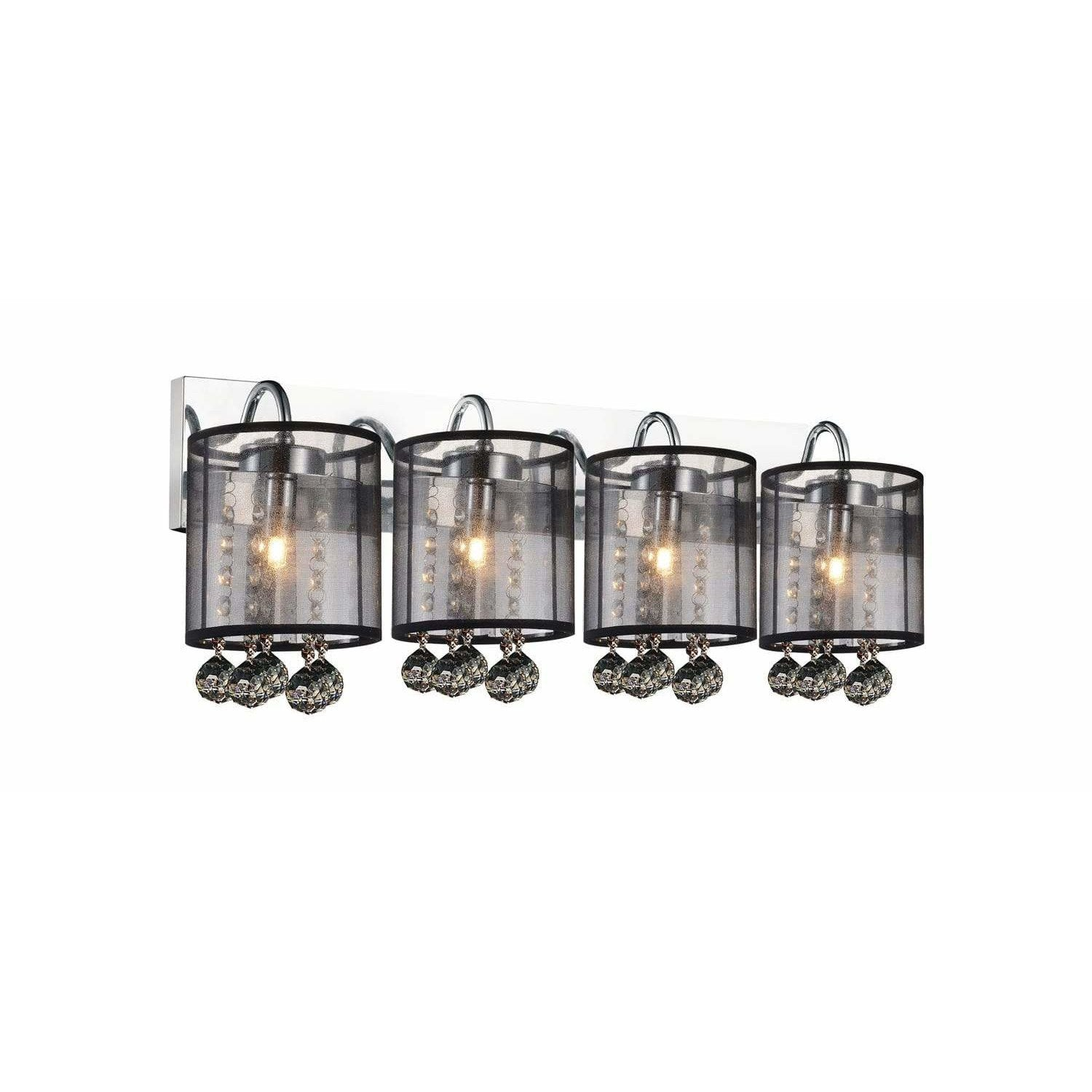 CWI Lighting Bathroom Lighting Chrome / K9 Smoke Radiant 4 Light Vanity Light with Chrome finish by CWI Lighting 5062W24C-4 (Smoke + B)