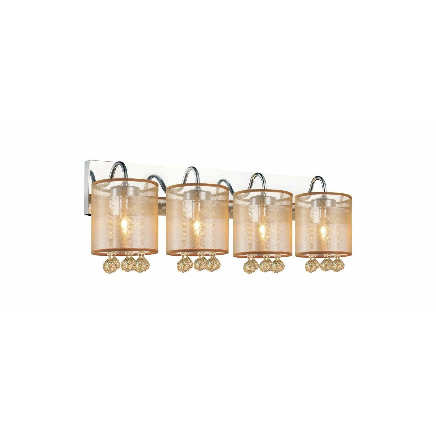 CWI Lighting Wall Sconces Chrome / K9 Champagne Radiant 4 Light Wall Sconce with Chrome Finish by CWI Lighting 5062W24C-4 (Chp + G)