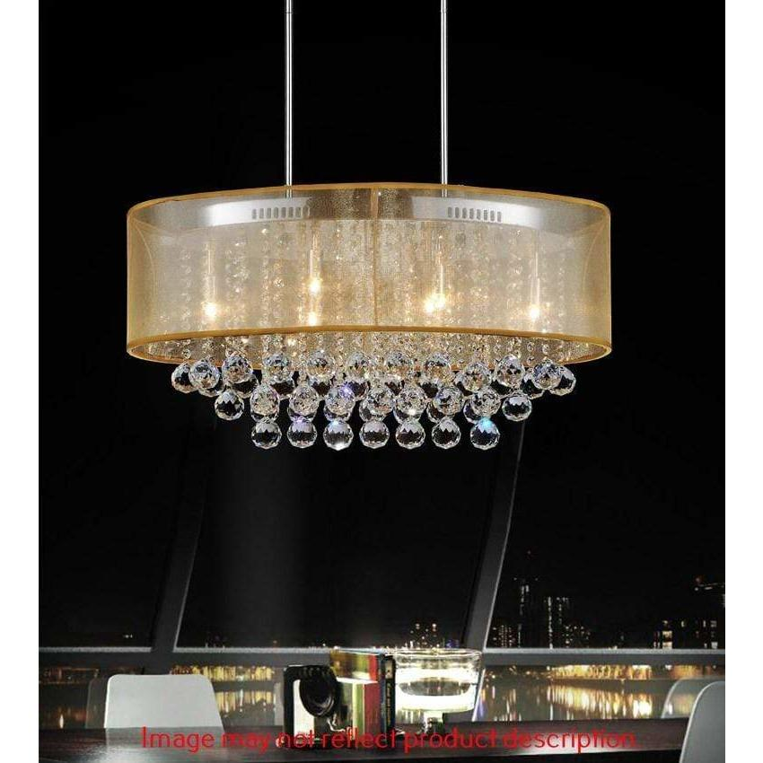CWI Lighting Chandeliers Chrome / K9 Champagne Radiant 6 Light Drum Shade Chandelier with Chrome finish by CWI Lighting 5063P26C (Chp + G)