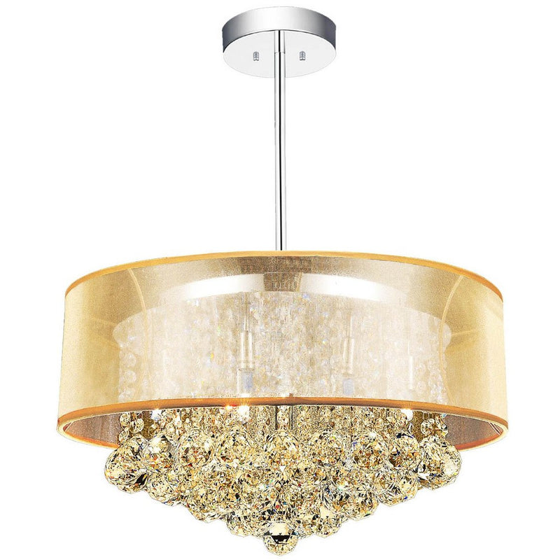 CWI Lighting Chandeliers Chrome / K9 Champagne Radiant 9 Light Drum Shade Chandelier with Chrome finish by CWI Lighting 5062P20C (Chp + G)