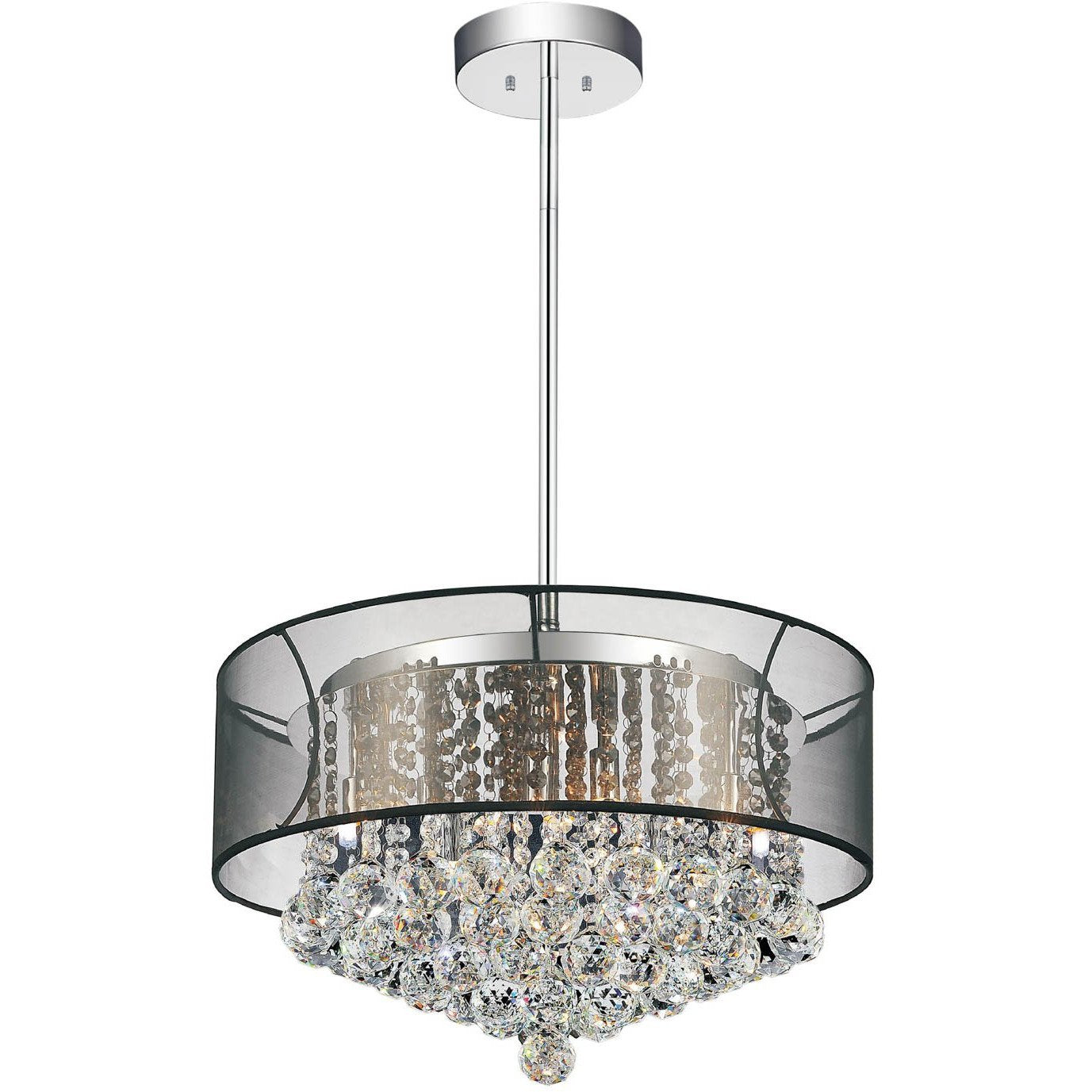 CWI Lighting Chandeliers Chrome / K9 Clear Radiant 9 Light Drum Shade Chandelier with Chrome finish by CWI Lighting 5062P20C (Clear + BK)