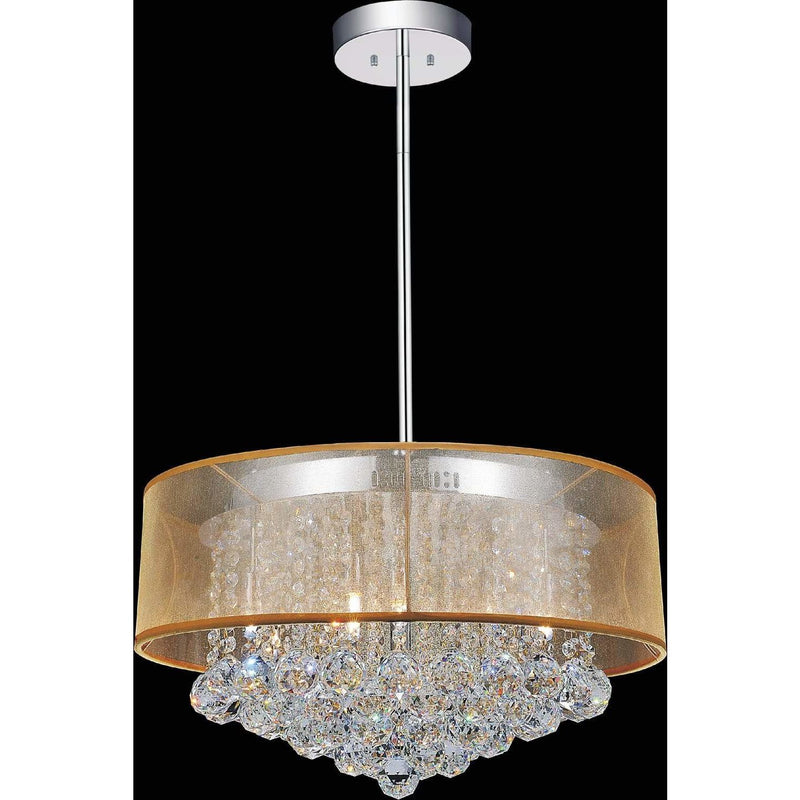 CWI Lighting Chandeliers Chrome / K9 Clear Radiant 9 Light Drum Shade Chandelier with Chrome finish by CWI Lighting 5062P20C (Clear + G)