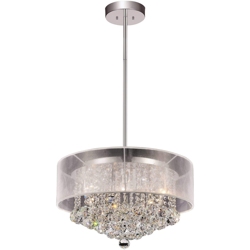 CWI Lighting Chandeliers Chrome / K9 Clear Radiant 9 Light Drum Shade Chandelier with Chrome finish by CWI Lighting 5062P20C (Clear + W)