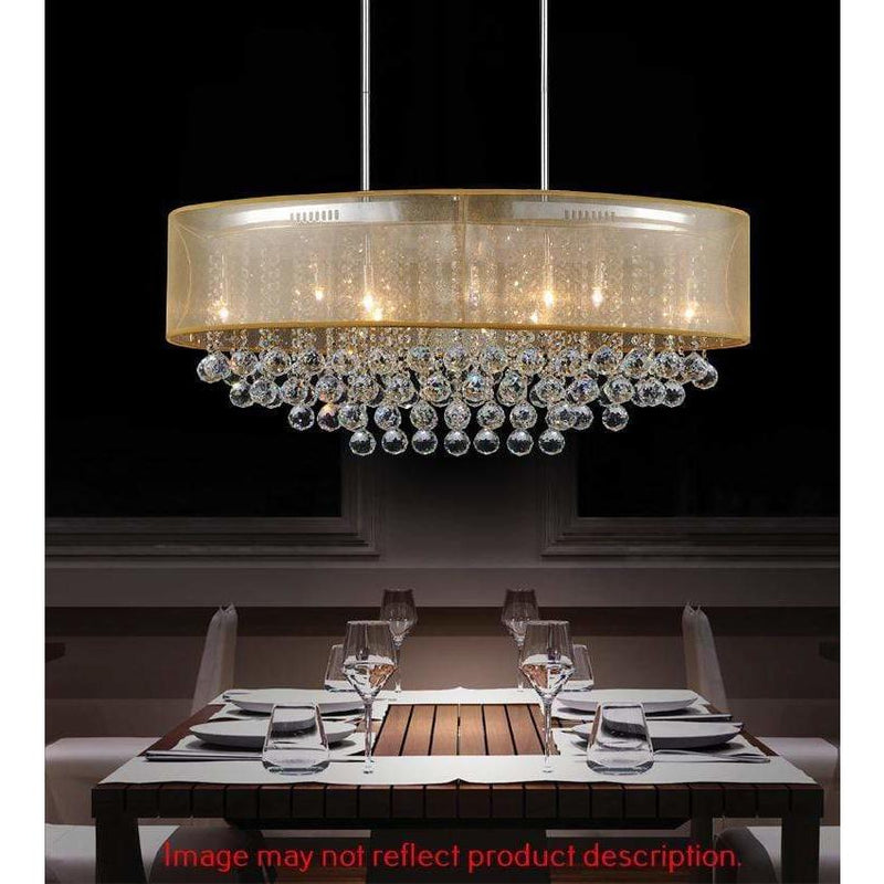 CWI Lighting Chandeliers Chrome / K9 Champagne Radiant 9 Light Drum Shade Chandelier with Chrome finish by CWI Lighting 5063P36C (Chp+ G)