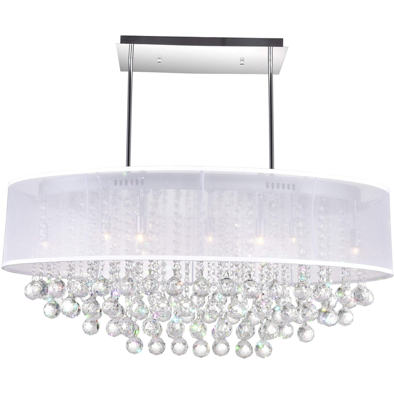 CWI Lighting Chandeliers Chrome / K9 Clear Radiant 9 Light Drum Shade Chandelier with Chrome finish by CWI Lighting 5063P36C (Clear+ W)