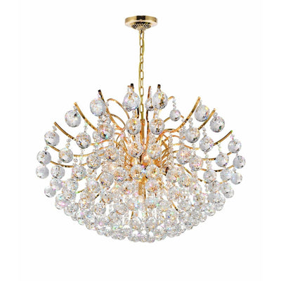 CWI Lighting Chandeliers Gold / K9 Clear Royal 9 Light Down Chandelier with Gold finish by CWI Lighting 8019P28G
