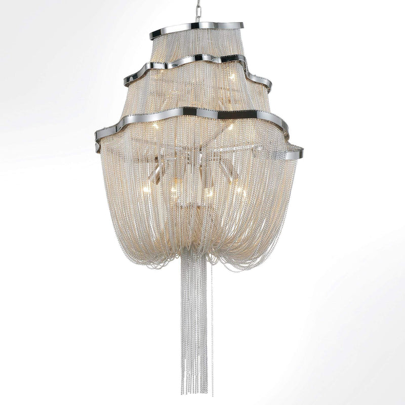 CWI Lighting Chandeliers Chrome Secca 9 Light Down Chandelier with Chrome finish by CWI Lighting 5654P20C