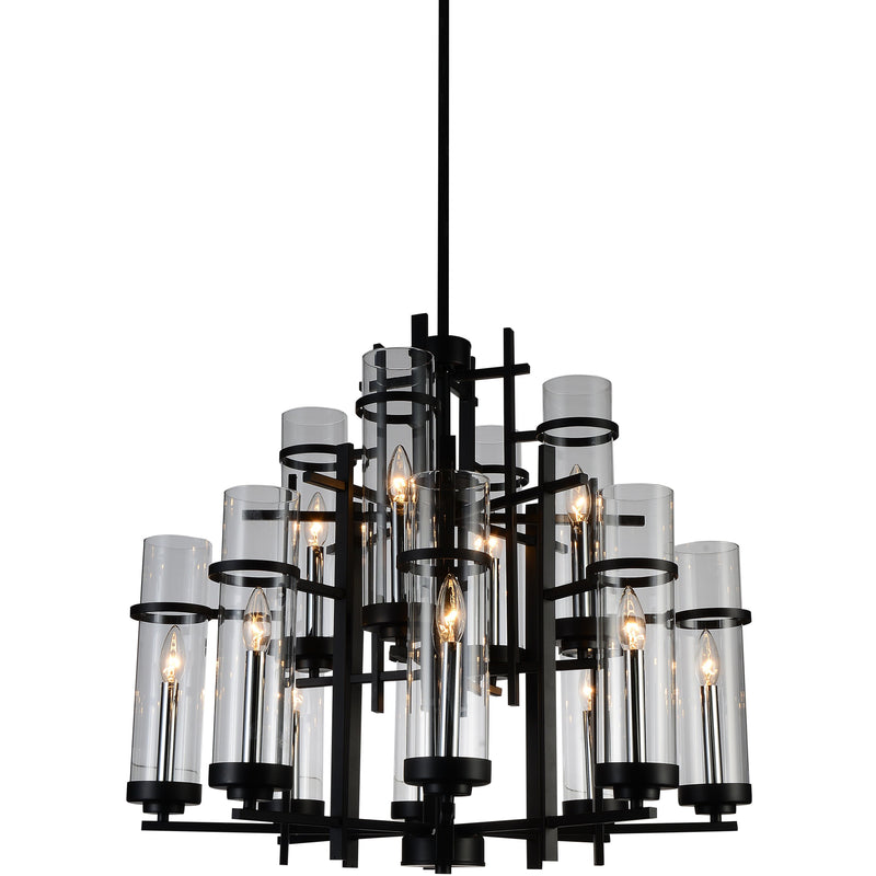 CWI Lighting Chandeliers Black Sierra 12 Light Up Chandelier with Black finish by CWI Lighting 9827P30-12-101-A