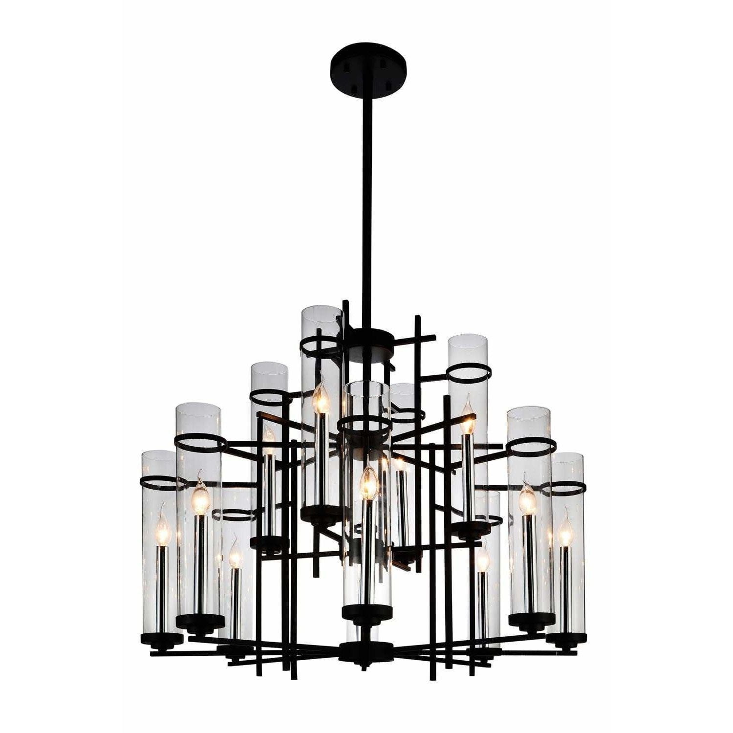 CWI Lighting Chandeliers Black Sierra 12 Light Up Chandelier with Black finish by CWI Lighting 9827P38-12-101