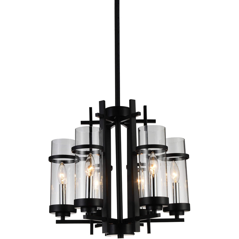 CWI Lighting Chandeliers Black Sierra 6 Light Up Chandelier with Black finish by CWI Lighting 9827P18-6-101