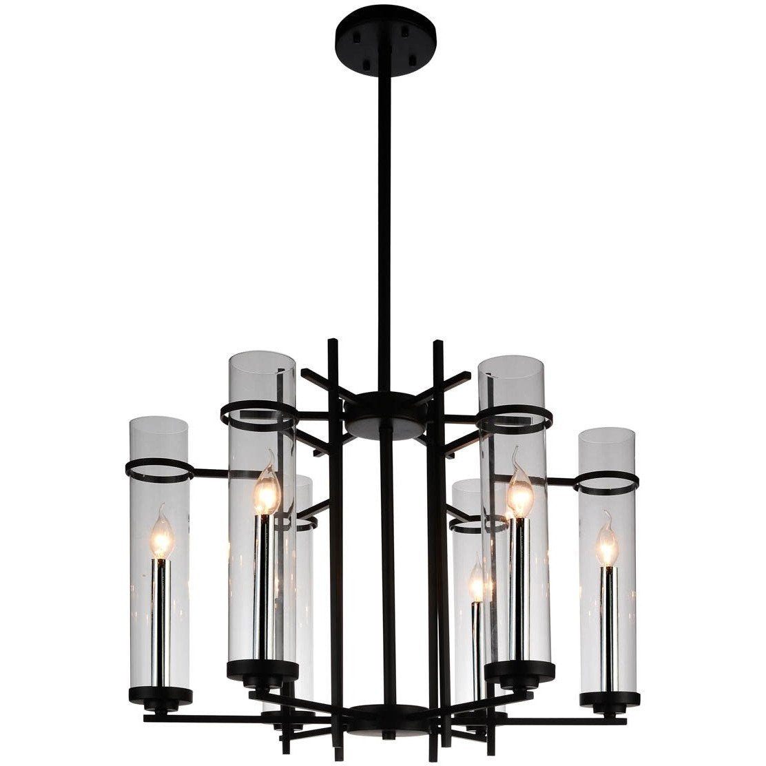 CWI Lighting Chandeliers Black Sierra 6 Light Up Chandelier with Black finish by CWI Lighting 9827P30-6-101