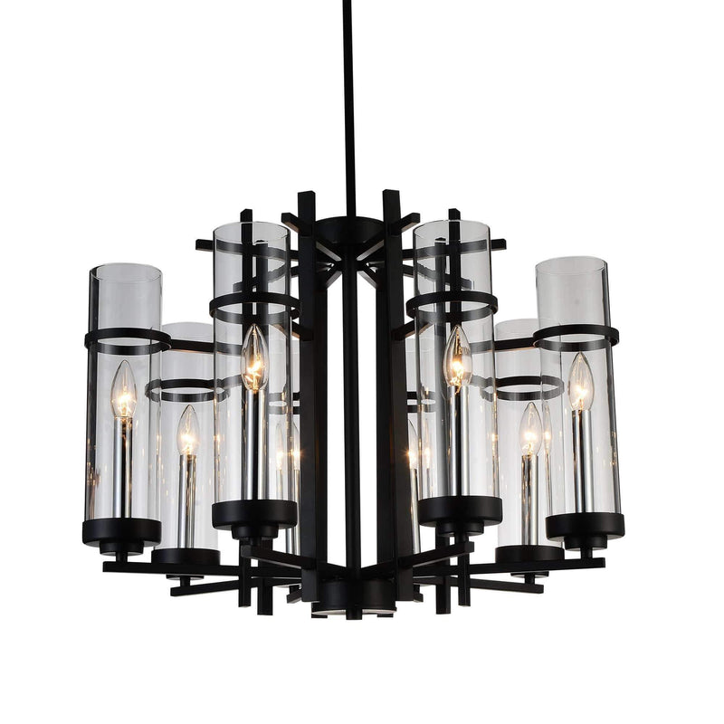 CWI Lighting Chandeliers Black Sierra 8 Light Up Chandelier with Black finish by CWI Lighting 9827P26-8-101