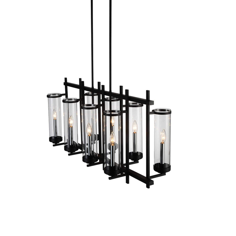 CWI Lighting Chandeliers Black Sierra 8 Light Up Chandelier with Black finish by CWI Lighting 9827P38-8-RC-101