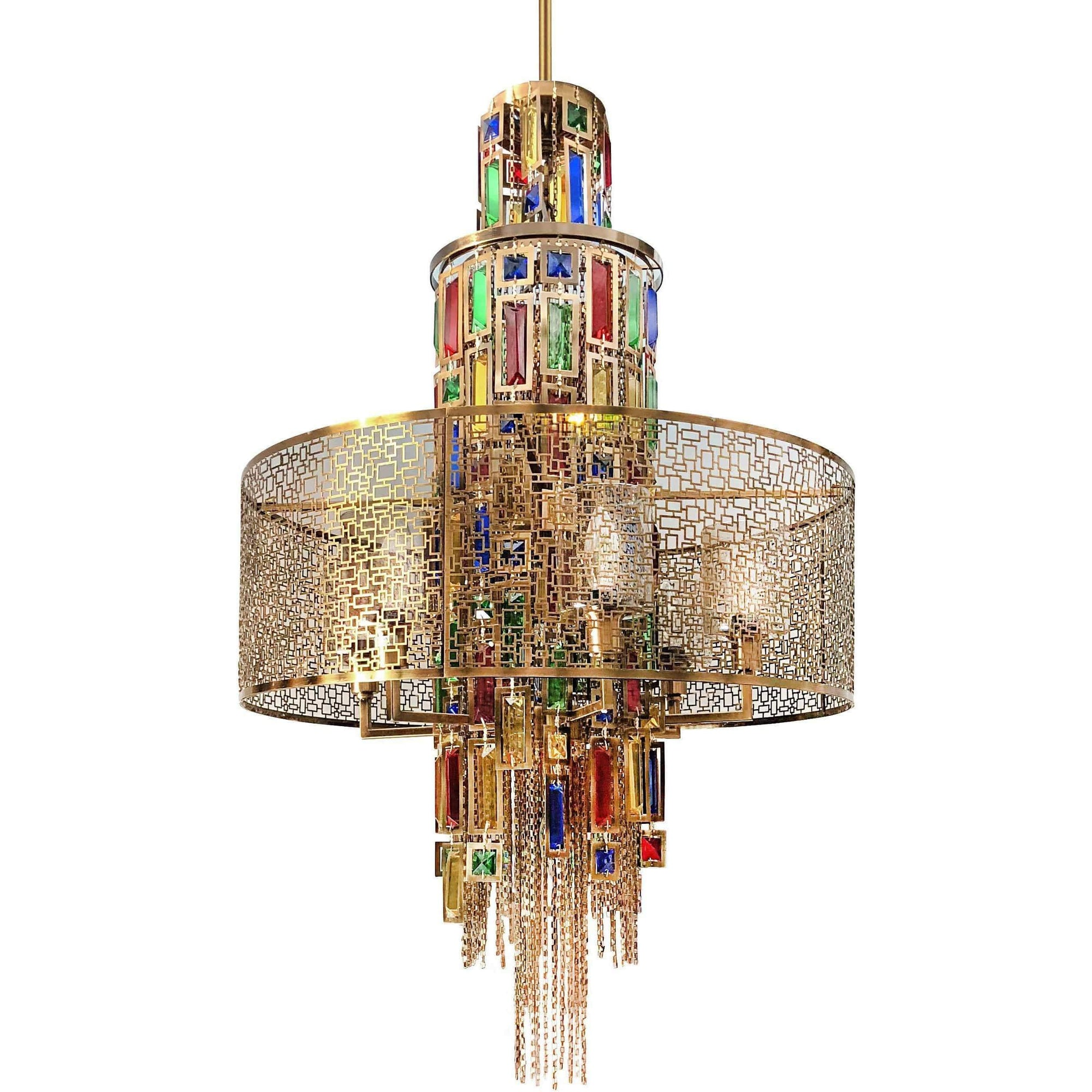 CWI Lighting Chandeliers Gold / K9 Multicoloured Stained 11 Light Drum Shade Chandelier with Gold finish by CWI Lighting 5647P24G