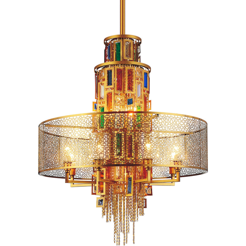 CWI Lighting Chandeliers Gold / K9 Multicoloured Stained 15 Light Drum Shade Chandelier with Gold finish by CWI Lighting 5647P32G