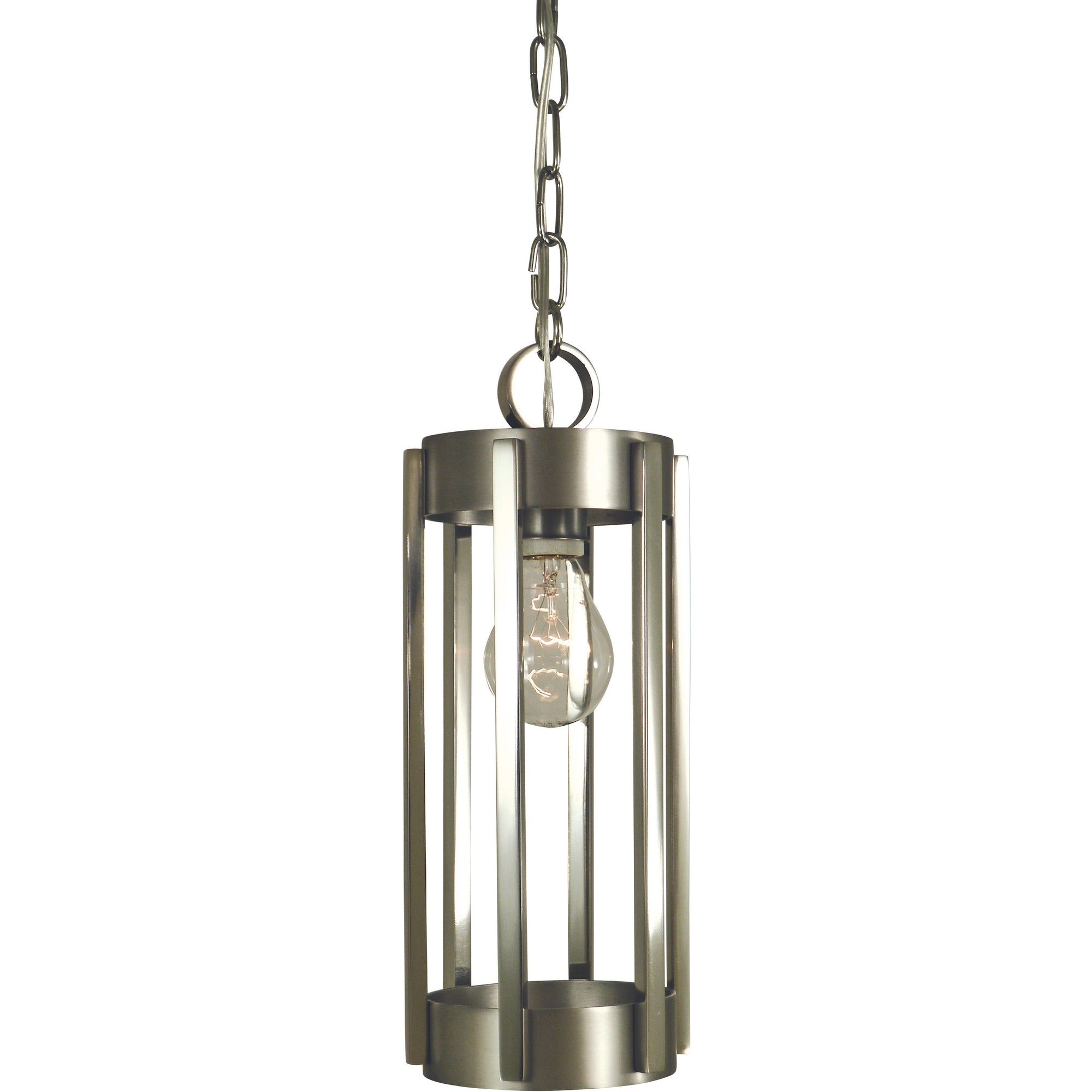 Framburg Pendants Satin Pewter with Polished Nickel 1-Light Satin Pewter/Polished Nickel Pantheon Pendant by Framburg 4661