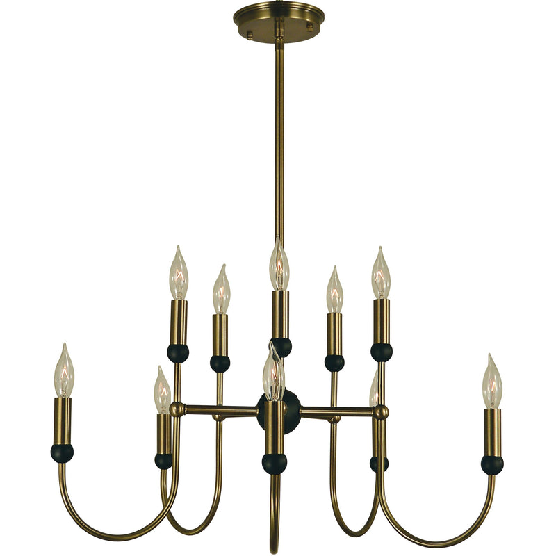 Framburg Chandeliers Antique Brass with Matte Black 10-Light Antique Brass/Matte Black Nicole Chandelier by Framburg 4795