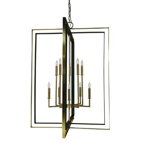 Framburg Foyer Chandeliers Antique Brass with Matte Black 10-Light Antique Brass/Matte Black Symmetry Foyer by Framburg 4868