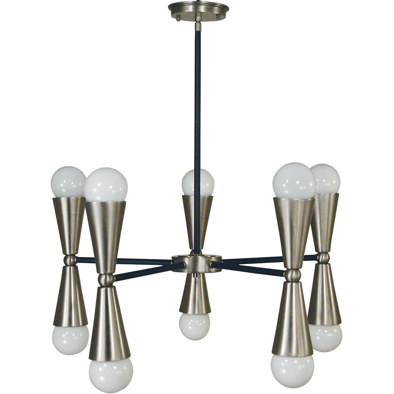 Framburg Chandeliers Brushed Nickel with Matte Black Accents 10-Light Brushed Nickel/Matte Black Equinox Chandelier by Framburg 3035