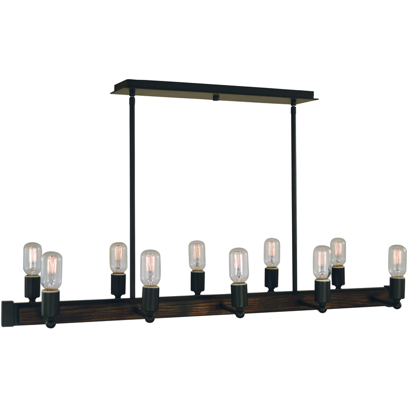 Framburg Island Lighting Matte Black 10-Light Matte Black Modern Farmhouse Island Chandelier by Framburg 5402