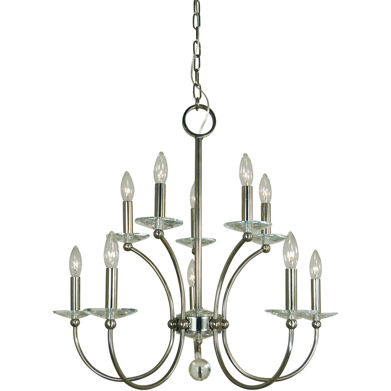 Framburg Chandeliers Polished Nickel 10-Light Pirouette Dining Chandelier by Framburg 3109