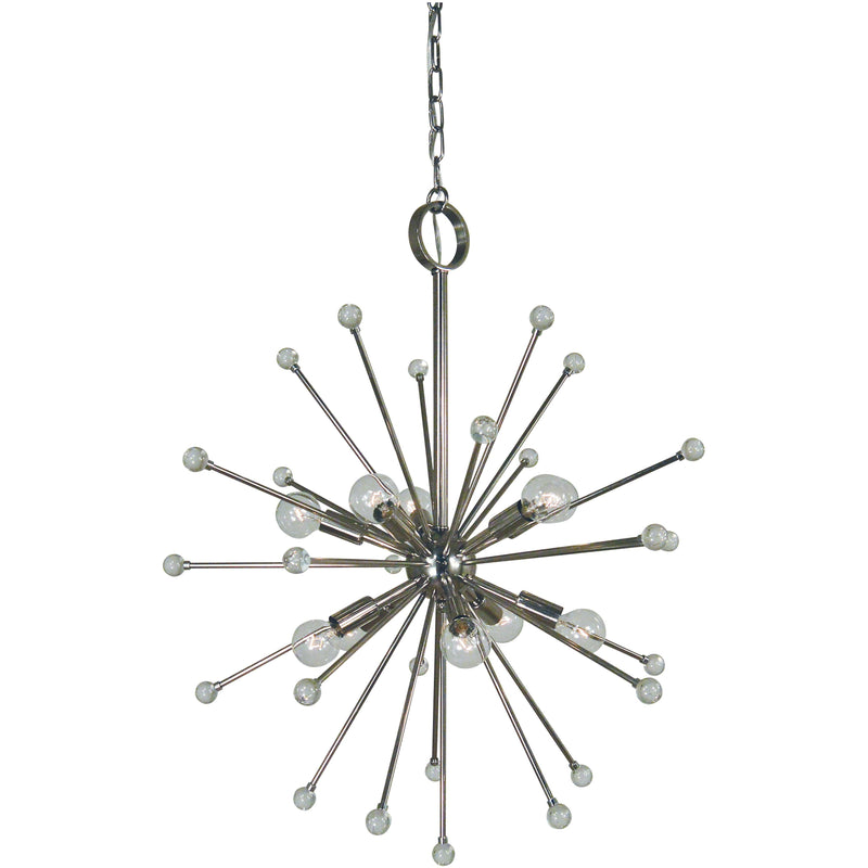 Framburg Foyer Chandeliers Polished Nickel 10-Light Polished Nickel Supernova Chandelier by Framburg 3088