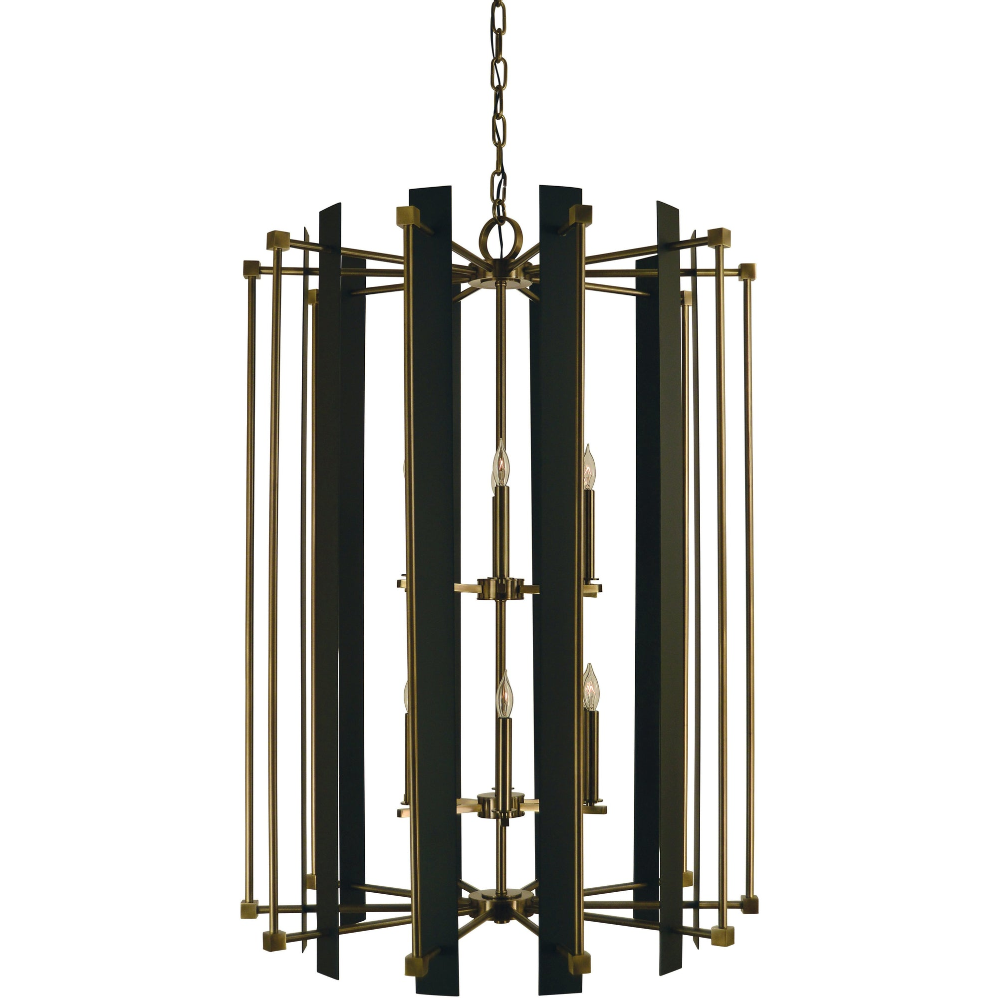 Framburg Foyer Chandeliers Antique Brass with Matte Black 12-Light Antique Brass/Matte Black Louvre Chandelier by Framburg 4806