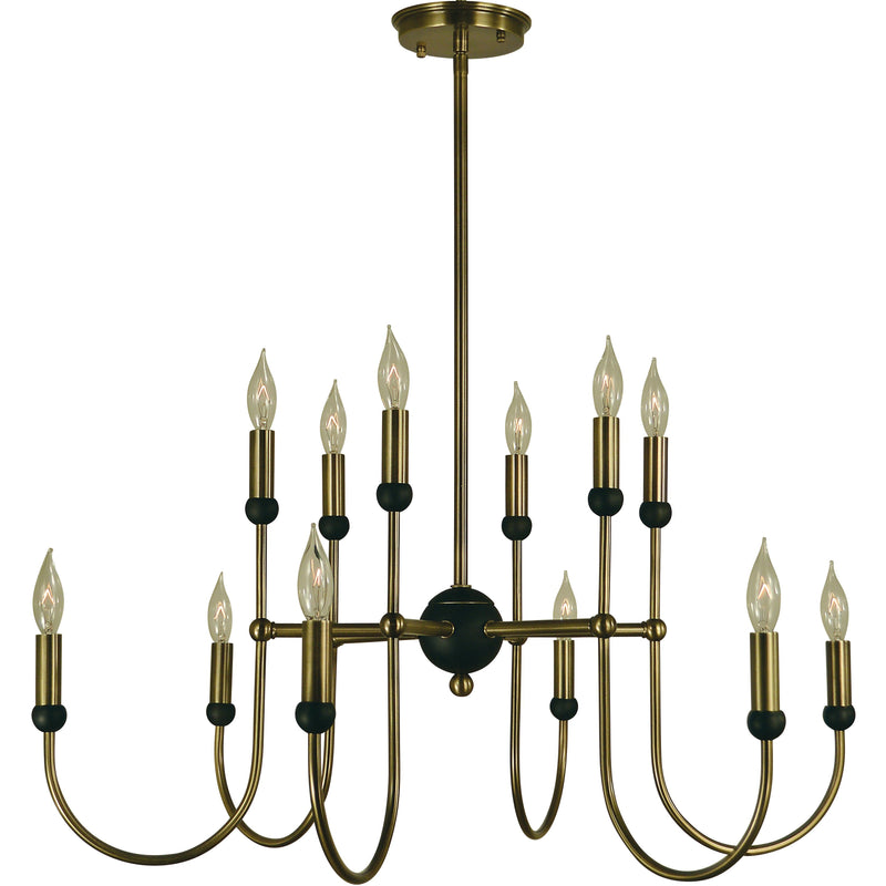 Framburg Chandeliers Antique Brass with Matte Black 12-Light Antique Brass/Matte Black Nicole Chandelier by Framburg 4798