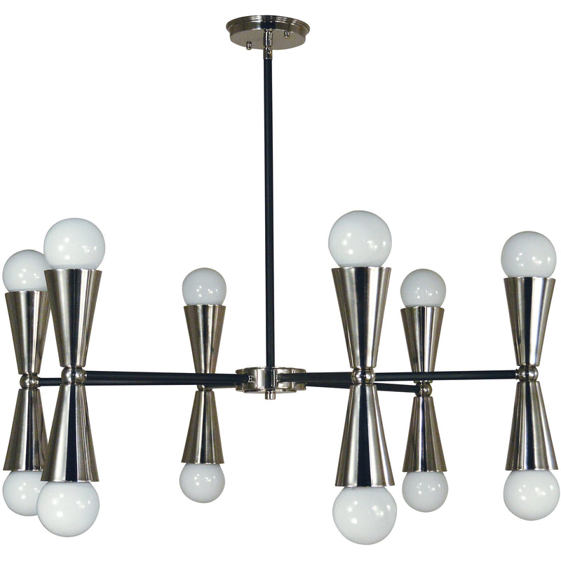 Framburg Chandeliers Brushed Nickel with Matte Black Accents 12-Light Brushed Nickel/Matte Black Equinox Chandelier by Framburg 3036