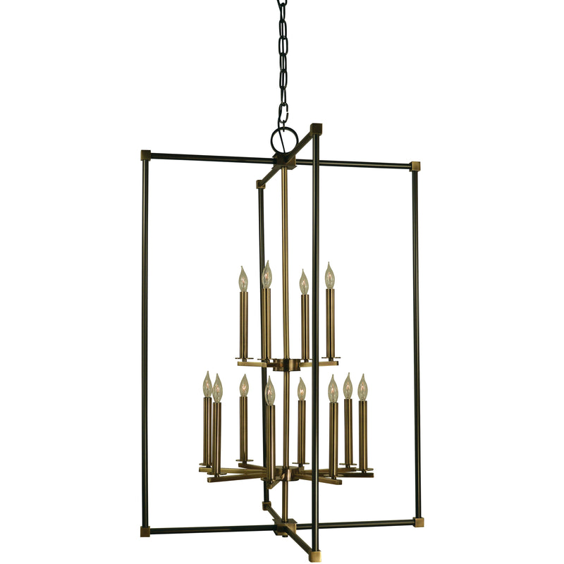 Framburg Foyer Chandeliers Mahogany Bronze with Antique Brass 12-Light Mahogany Bronze/Antique Brass Lexington Chandelier by Framburg 4610