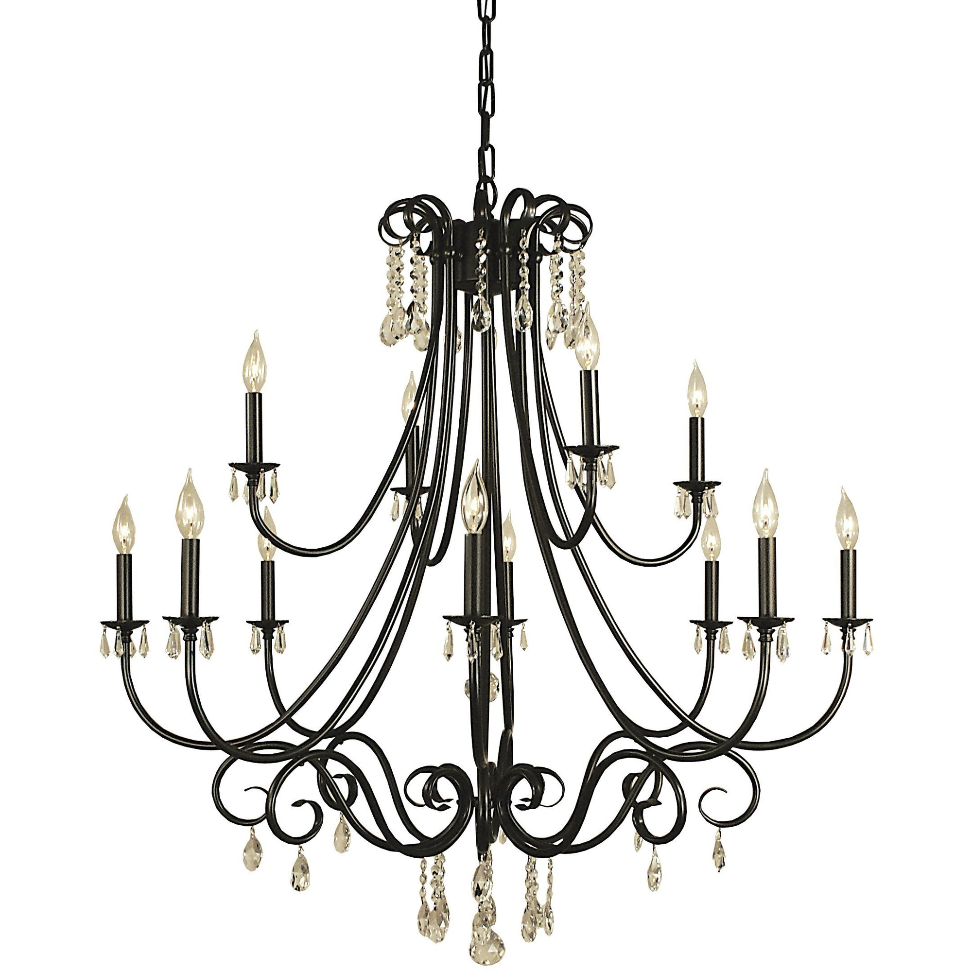 Framburg Foyer Chandeliers Mahogany Bronze 12-Light Mahogany Bronze Liebestraum Foyer Chandelier by Framburg 2997