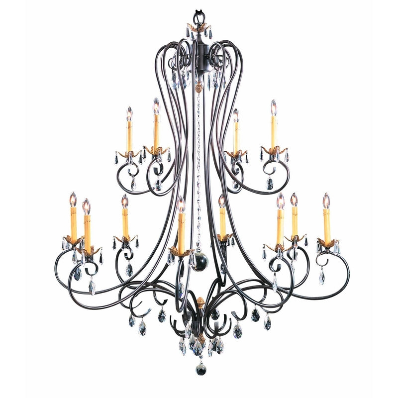 Framburg Foyer Chandeliers Mahogany Bronze 12-Light Mahogany Bronze Liebestraum Foyer Chandelier by Framburg 9907