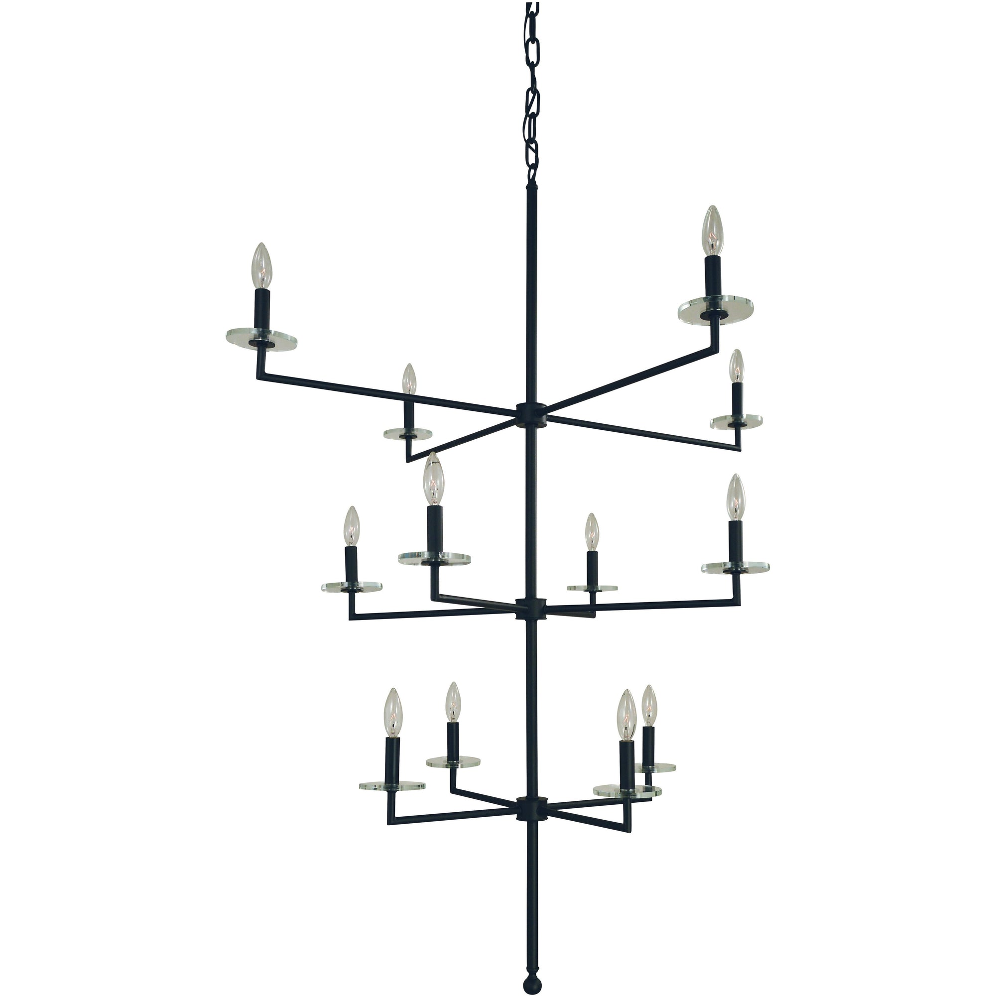 Framburg Chandeliers Matte Black 12-Light Matte Black Muse Foyer Chandelier by Framburg 5452