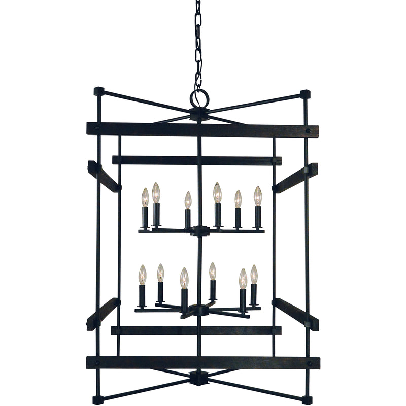 Framburg Foyer Chandeliers Matte Black 12-Light Matte Black Rustic Chic Chandelier by Framburg 5278