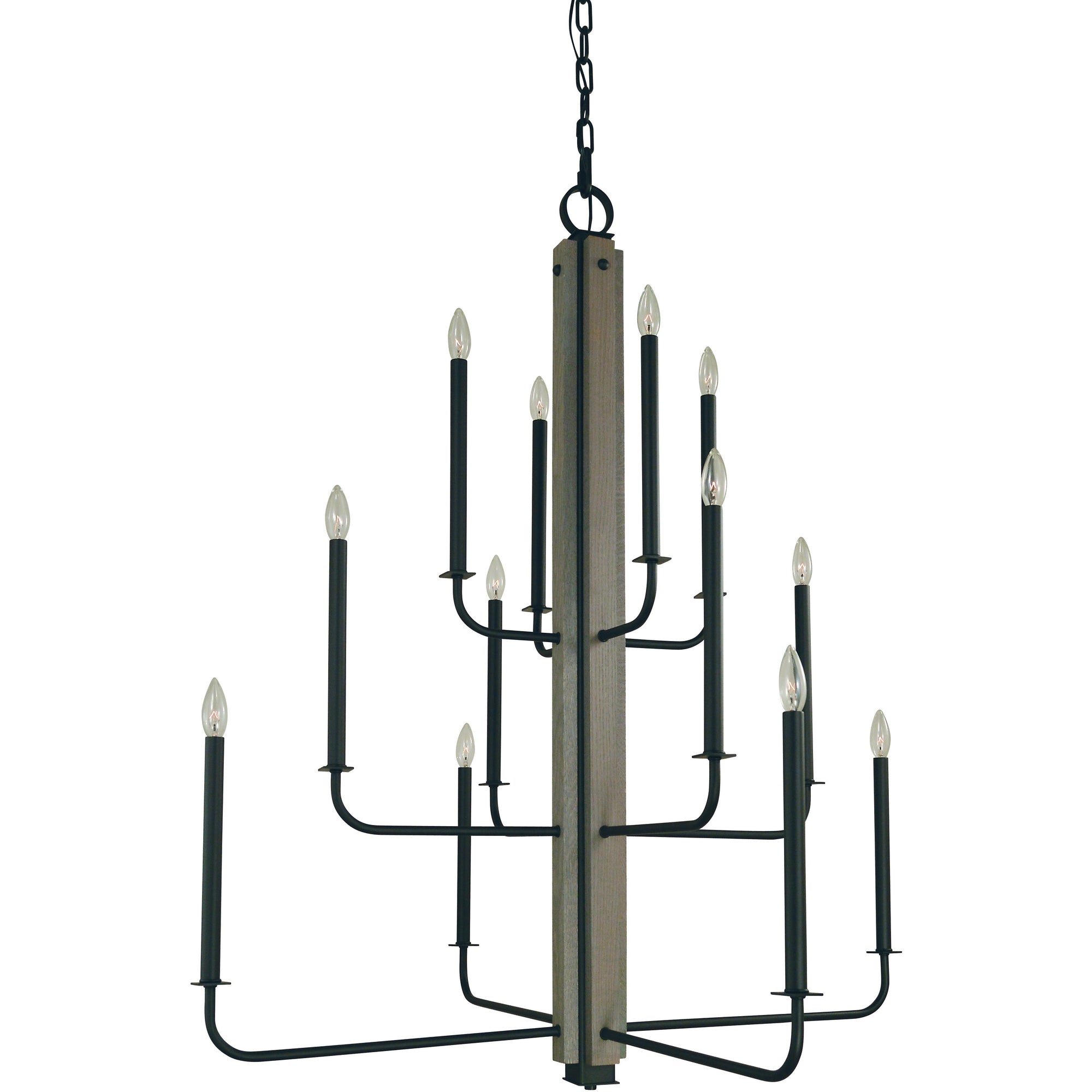 Framburg Chandeliers Matte Black 12-Light Matte Black With Grey Oak Accents Loft Foyer Chandelier by Framburg 5412