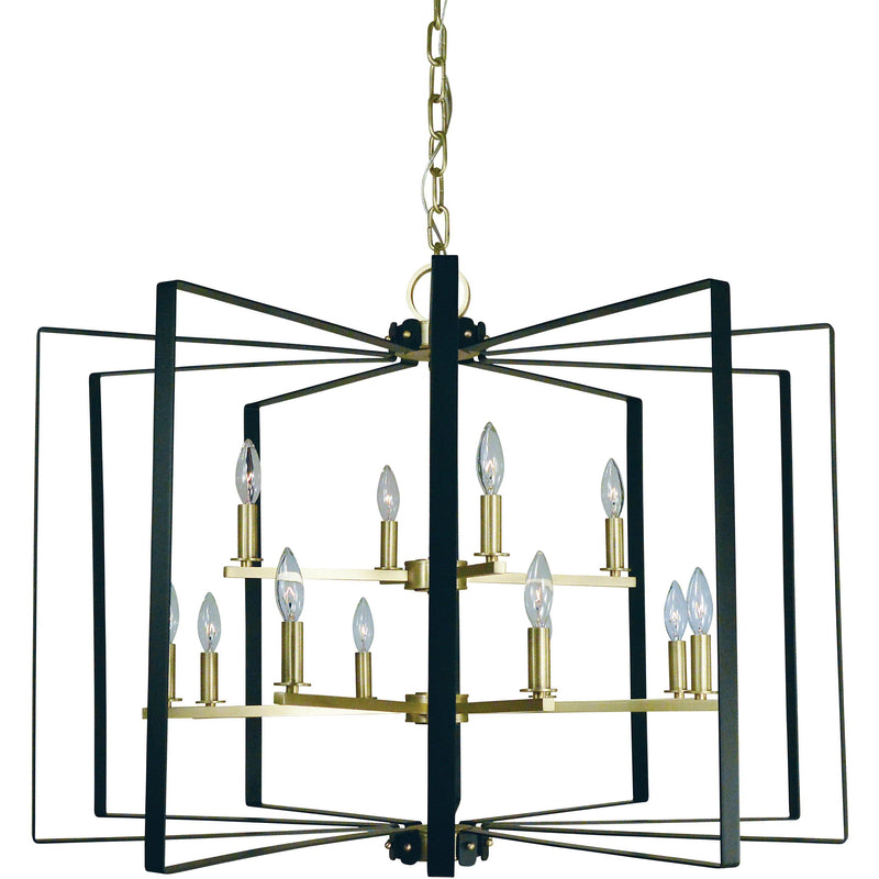 Framburg Foyer Chandeliers Satin Brass with Matte Black Accents 12-Light Satin Brass/Matte Black Camille Chandelier by Framburg 3058