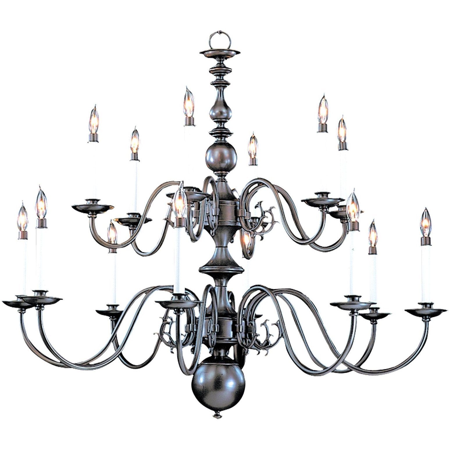 Framburg Foyer Chandeliers Mahogany Bronze 14-Light Mahogany Bronze Jamestown Foyer Chandelier by Framburg 9135