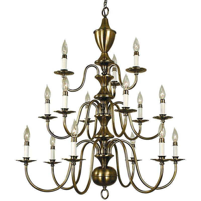 Framburg Foyer Chandeliers Antique Brass 15-Light Antique Brass Jamestown Foyer Chandelier by Framburg 2527