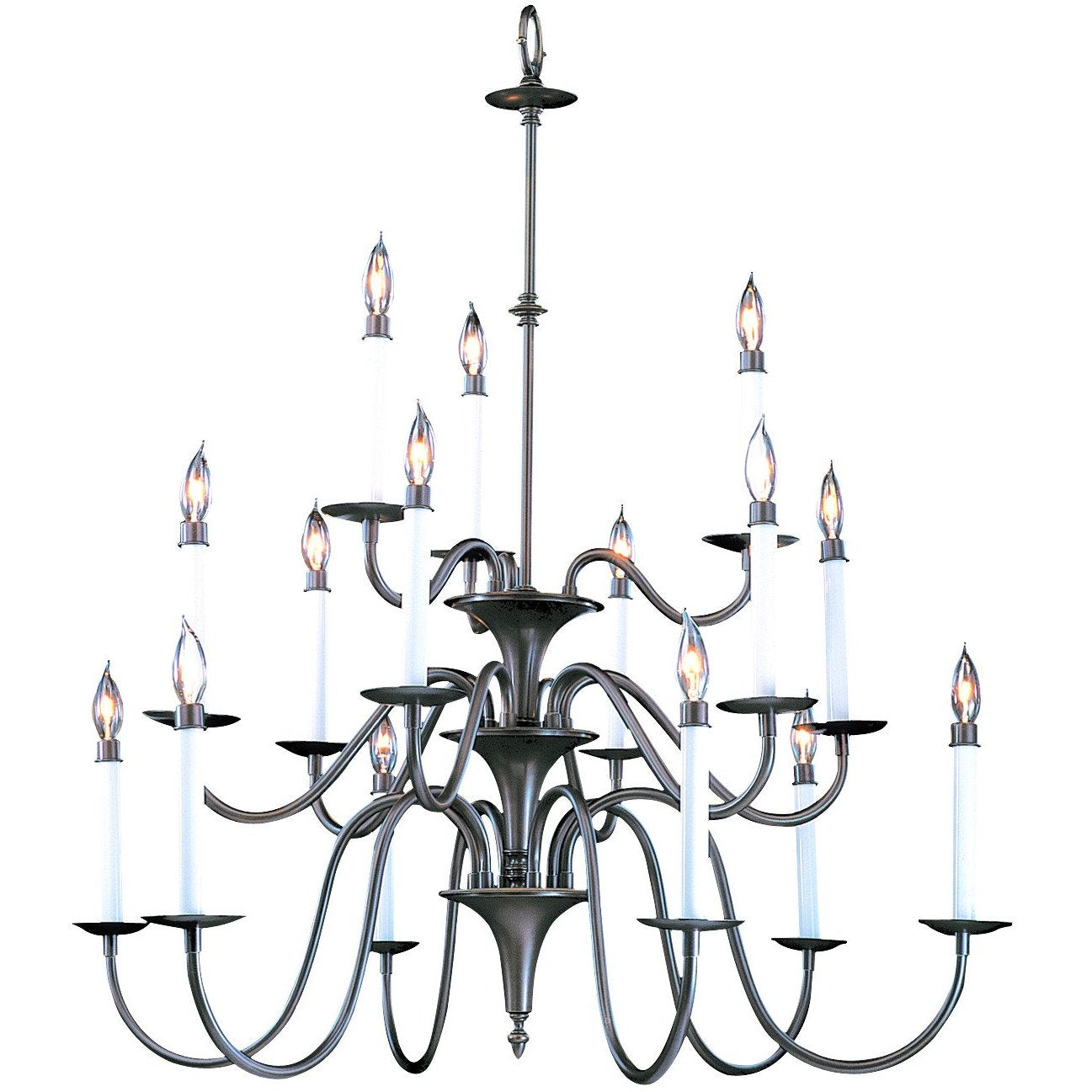 Framburg Foyer Chandeliers Mahogany Bronze 15-Light Mahogany Bronze Jamestown Foyer Chandelier by Framburg 9235