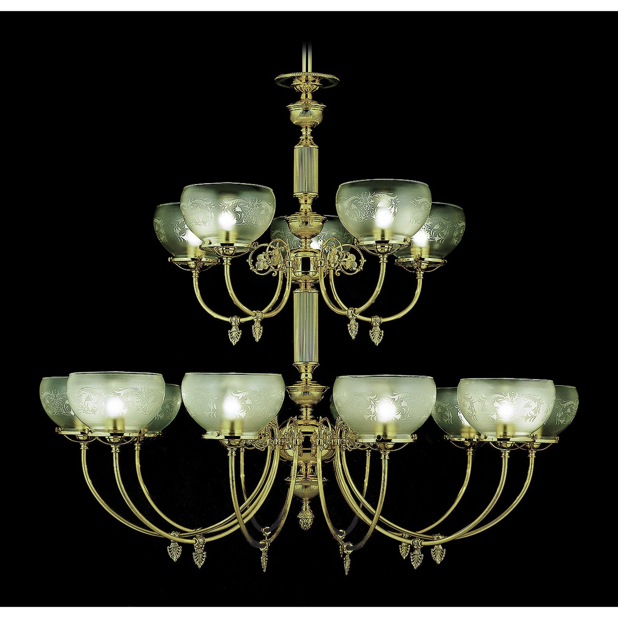 Framburg Foyer Chandeliers Polished Brass 15-Light Polished Brass Chancery Foyer Chandelier by Framburg 7515