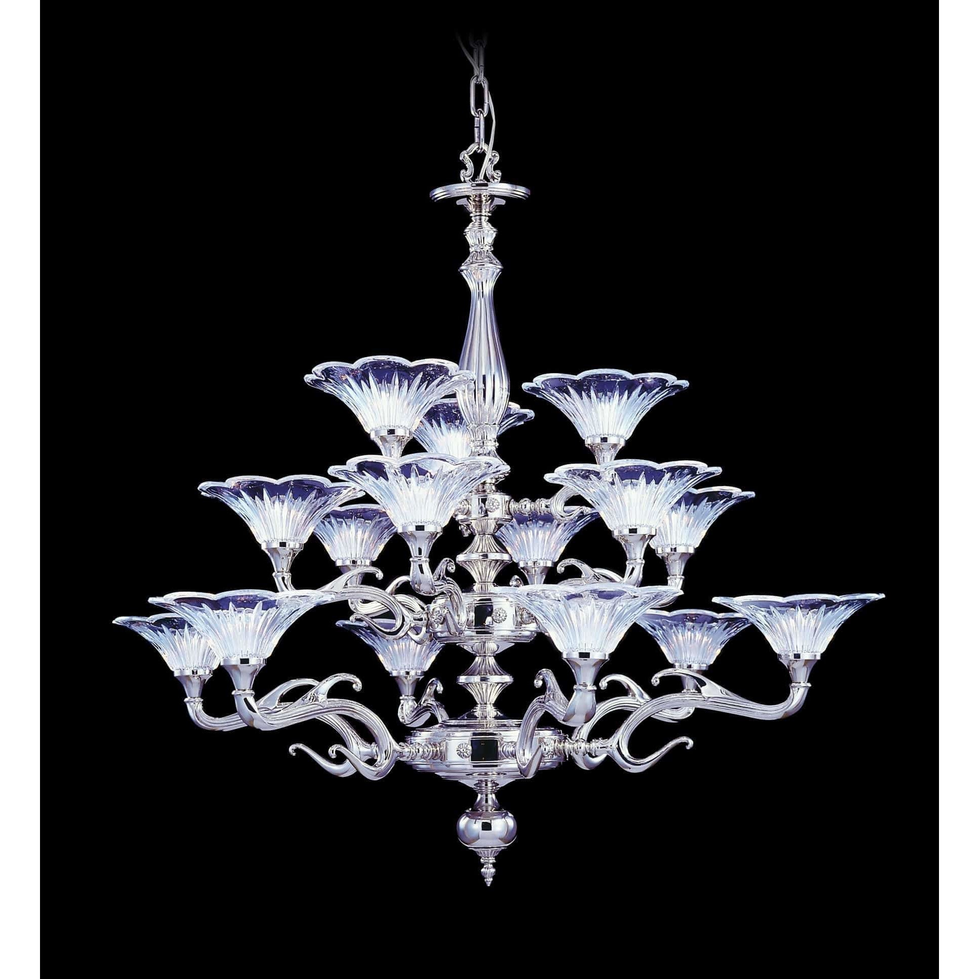 Framburg Foyer Chandeliers Polished Silver 15-Light Polished Silver Geneva Foyer Chandelier by Framburg 8623