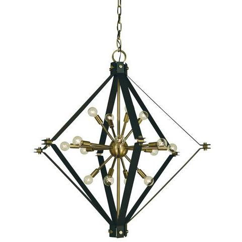 Framburg Foyer Chandeliers Antique Brass with Matte Black 16-Light Antique Brass/Matte Black Axis Foyer Chandelier by Framburg 4820