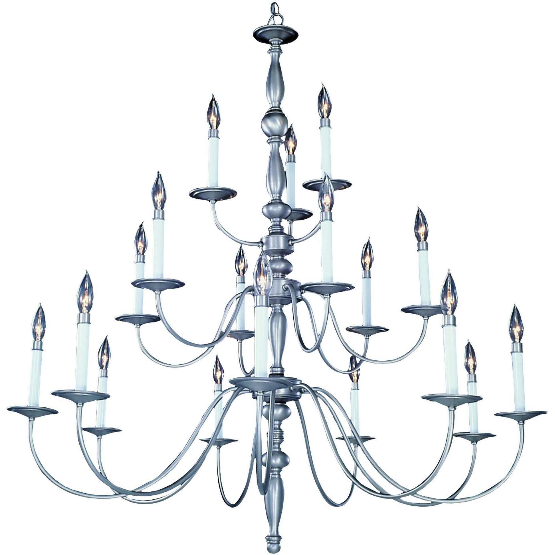 Framburg Foyer Chandeliers Satin Pewter 18-Light Satin Pewter Jamestown Foyer Chandelier by Framburg 7918