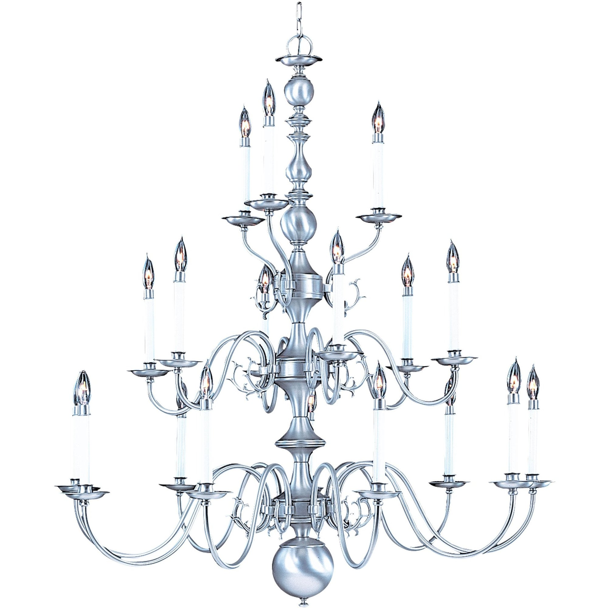 Framburg Foyer Chandeliers Satin Pewter 18-Light Satin Pewter Jamestown Foyer Chandelier by Framburg 9148