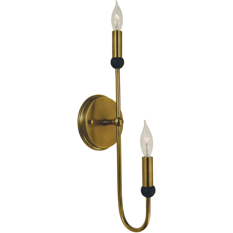 Framburg Wall Sconces Antique Brass with Matte Black 2-Light Antique Brass/Matte Black Nicole Sconce by Framburg 4792